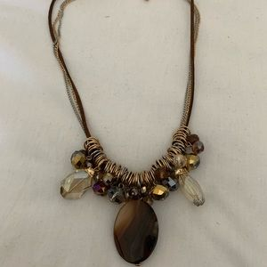 LEATHER AND CHAIN AGATE CRYSTAL NECKLACE